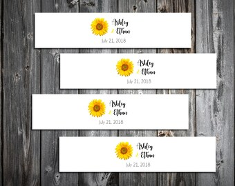 150 Sunflower Wedding Napkin Ring Cuffs Wraps. Personalized Favors