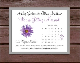 Lavender Purple Daisy Wedding Save the Date Cards Invitations