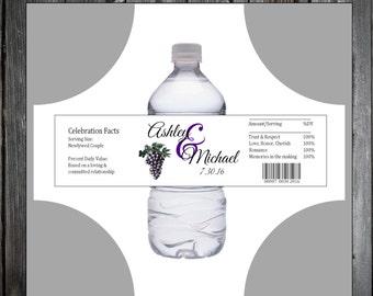 Wine Grapes Rustic Vineyard  100 water bottle labels - Wedding favors