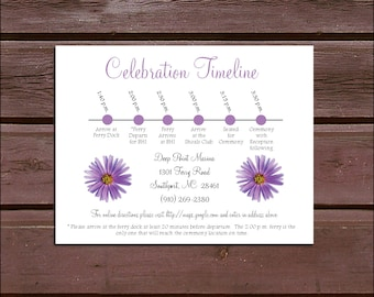 100 Lavender Purple Daisy Timeline to include with your Wedding Invitations. Includes printing