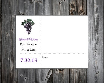 Wine Rustic Vineyard  100 Advice and Wishes.  Wedding Favors