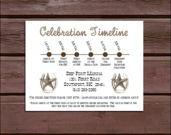 100 Western Rusic Timeline to include with your Wedding Invitations. Includes printing