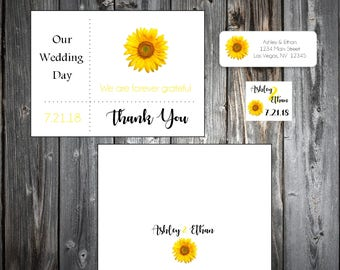 100 Sunflower Wedding Thank You Notes