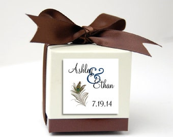 175 Peacock Feathers Wedding Favor Stickers. Personalized printed square labels are 2 inches by 2 inches.
