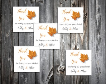 100 Fall Leaf Wedding Favor Stickers. Personalized printed square labels are 2 inches by 2 inches.