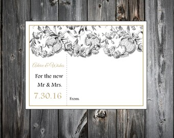 Lace and Burlap Rustic Theme 100 Advice and Wishes.  Wedding Favors