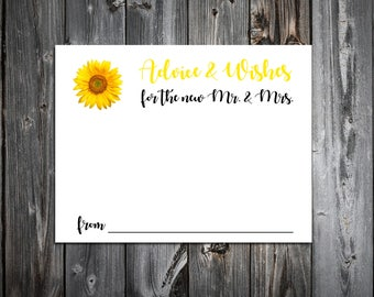 150  Sunflower Advice and Wishes.  Wedding Favors