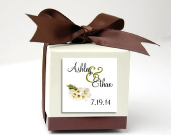 100 Calla Lily Wedding Favor Stickers. Personalized printed square labels are 2 inches by 2 inches.
