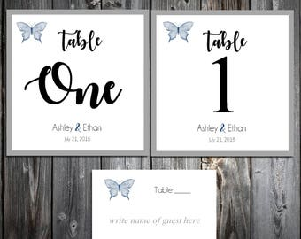25 Butterfly Table Numbers and 250 place settings
