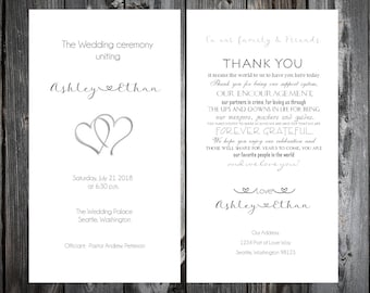 100 Hearts Wedding Ceremony Programs