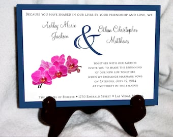 Pink Orchids Wedding Invitations, RSVP's, Reception Insert w/ FREE Calendar Stickers