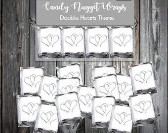 100 Hearts Candy Wraps Wedding Favors. Includes printing.