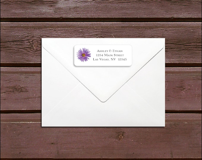 100 Lavender Purple Daisy Wedding Address Labels. Personalized self stick label