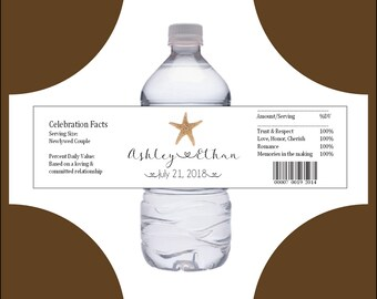 50 Beach starfish water bottle labels - Wedding favors