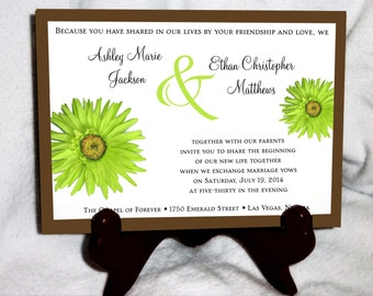 100 Lime Green Daisy Wedding Invitations, RSVP's, Reception Insert w/ FREE Calendar Stickers