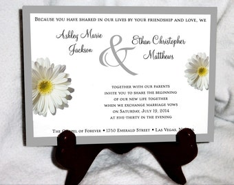 White Daisy Wedding Invitations, RSVP's, Reception Insert w/ FREE Calendar Stickers
