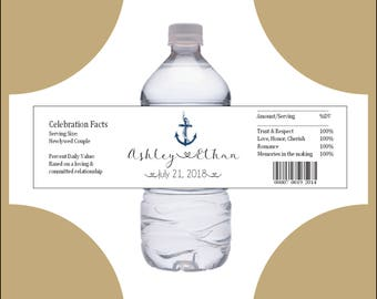 50 Nautical Beach Anchor water bottle labels - Wedding favors