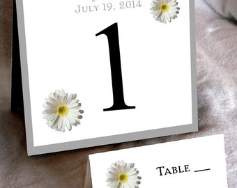 16 White Daisy Wedding Table Numbers and 110 place settings for reception tables