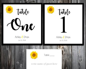 10 Sunflower Wedding Table Numbers and 100 place settings for reception tables