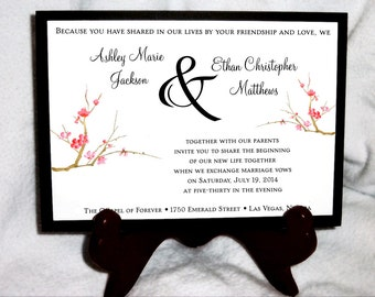 100 Cherry Blossom Wedding Invitations, RSVP's, Reception Insert w/ FREE Calendar Stickers