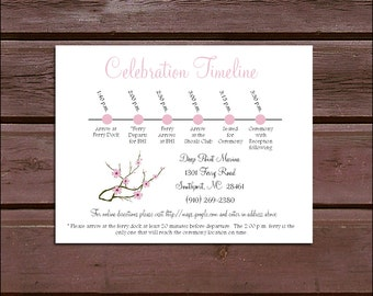 100 Cherry Blossom PInk Timeline to include with your Wedding Invitations. Includes printing