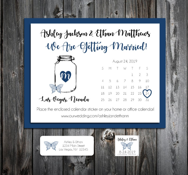 50 Wedding Save the Date Cards Printed Mason Jar with Butterfly Personalized Save the Dates Invitations