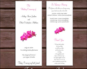 100 Pink Orchids Wedding Ceremony Programs