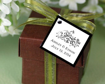 100 Damask Swirl Favor Tags.  Wedding favors