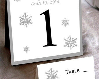 15 Snowflake Table Numbers and 100 place settings - Includes personalization and printing!