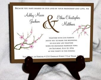 100 Cherry Blossom Pink Wedding Invitations, RSVP's, Reception Insert w/ FREE Calendar Stickers