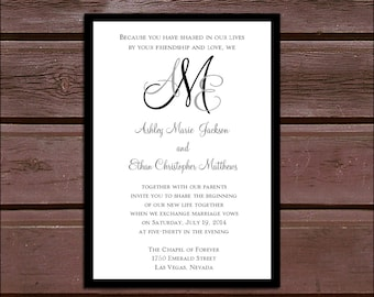 Monogram Wedding Invitations, RSVP's, Reception Insert w/ FREE Calendar Stickers