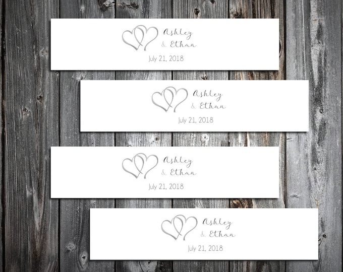 50 Hearts Wedding Napkin Ring Cuffs Wraps. Personalized Favors