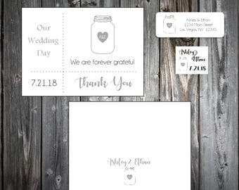 100 Mason Jar Wedding Thank You Notes