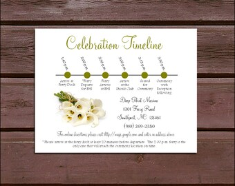 100 Calla Lily Timeline to include with your Wedding Invitations. Includes printing