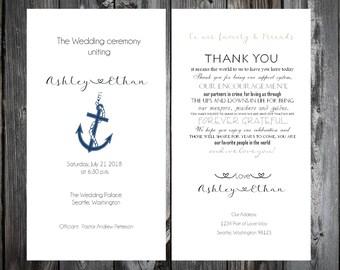 100 Nautical Beach Anchor Wedding Ceremony Programs