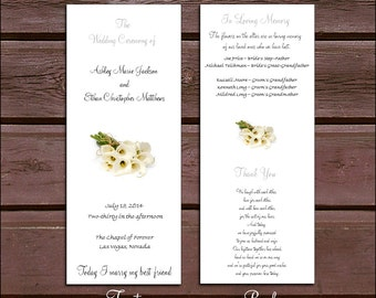 100 Calla Lily Wedding Ceremony Programs