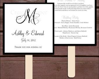 Monogram Program Fans Kit - Printing Included. Wedding ceremony programs - monogrammed