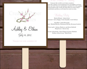 Cherry Blossoms Program Fans Kit - Printing Included. Wedding ceremony programs