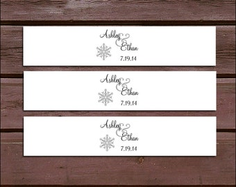 100 Snowflake Wedding Invitation Belly Bands Wraps