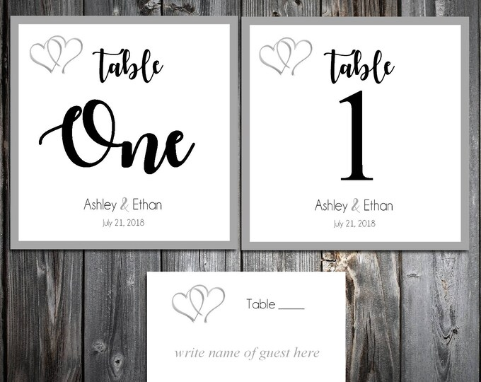 25 Hearts Wedding Table Numbers and 250 place settings for reception tables