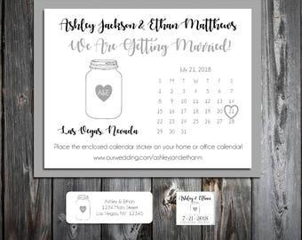 Mason Jar Wedding Save the Date Cards Invitations