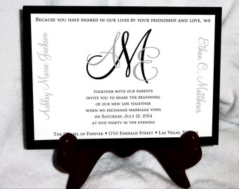 Monogram Wedding Invitations, RSVP's, Reception Insert w/ FREE Calendar Stickers - monogrammed