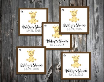 25 GIRAFFE Baby Shower Favor Tags.  Price includes personalization, printing.