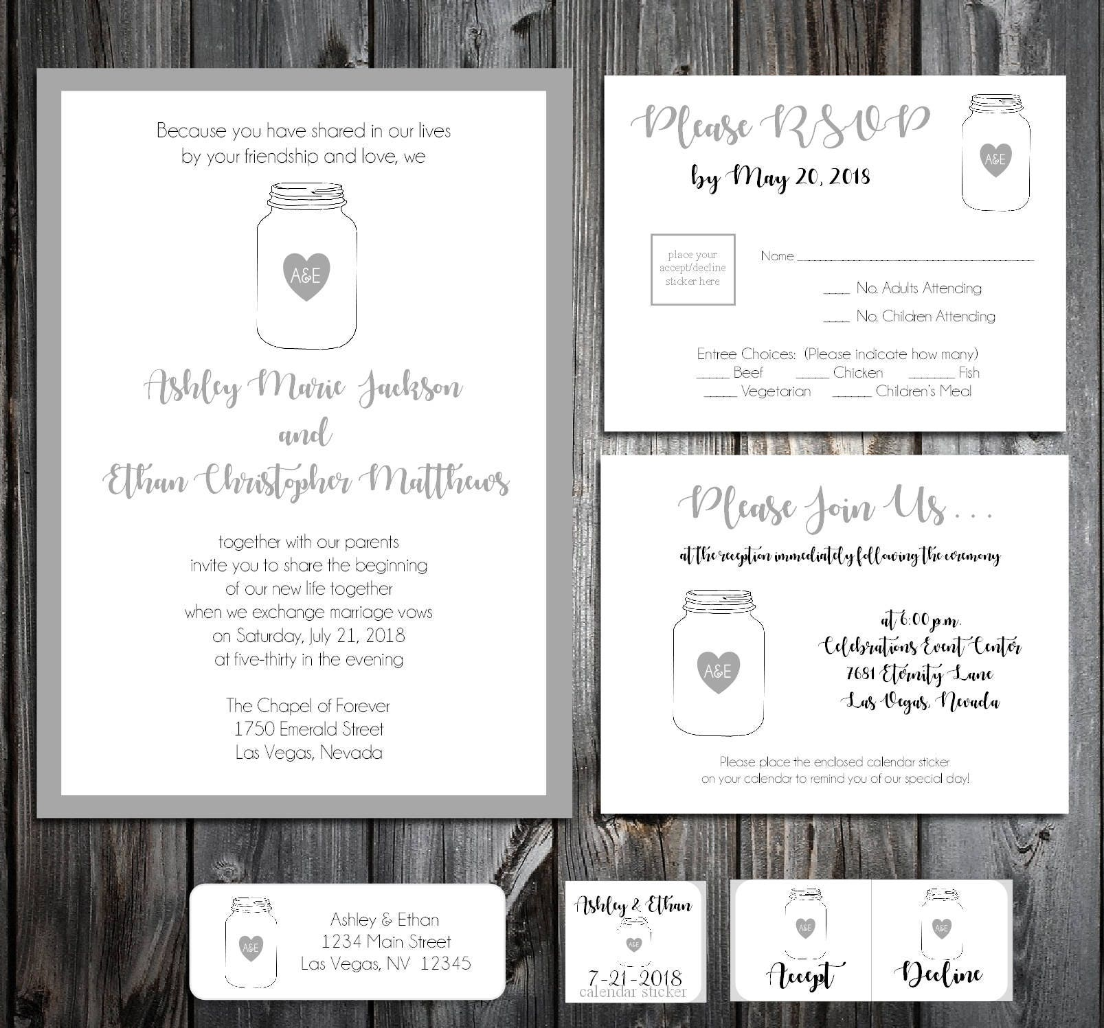 100 Mason Jar Wedding Invitations, RSVP\'s, Reception Insert w/ FREE ...