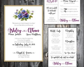 Pansies Flowers Wedding Invitations, RSVP's, Reception Insert w/ FREE Calendar Stickers - Printing included