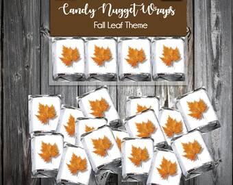 100 Fall Leaf Candy Wraps - Wedding Favors