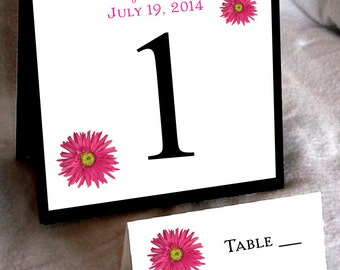 10 Pink Daisy Wedding Table Numbers and 100 place settings for reception tables