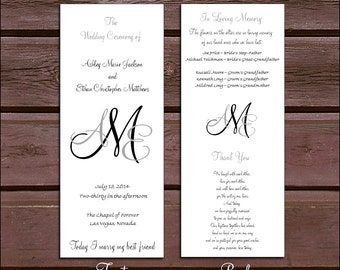 100 Monogram Wedding Ceremony Programs - monogrammed