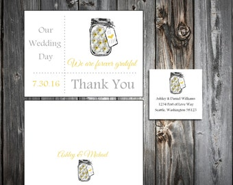 Mason Jar with Daisies 100 Wedding Thank You Notes