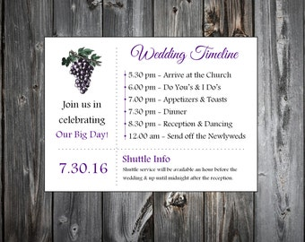 Wine Rustic Vineyard  100 Personalized and Printed Timelines. Wedding Invitations Inserts.  Ceremony Reception Schedule.